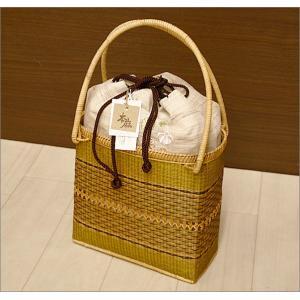 浴衣用の籠バッグ(麻素材)17-12.桃色の紙風船柄・巾着付き kimono-waku