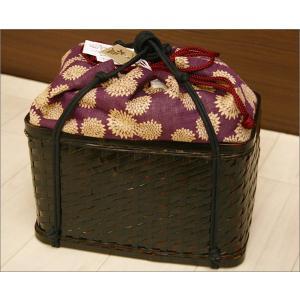 浴衣用の籠バッグ(麻素材利用)17-14.巾着付き・赤紫地に菊柄 kimono-waku