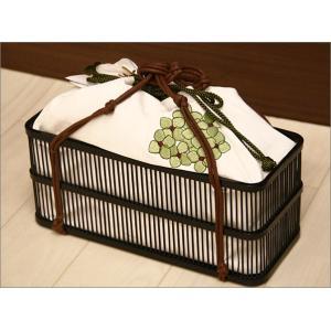 浴衣用の籠バッグ(綿素材利用)17-16.巾着付き・白地にグリーンの紫陽花柄 kimono-waku