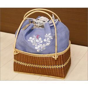 浴衣用の籠バッグ(麻素材利用)17-18.巾着付き・ブルー地に萩柄 kimono-waku