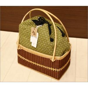 浴衣用の籠バッグ(麻素材利用)17-8.グリーン系の絣柄・巾着付き kimono-waku