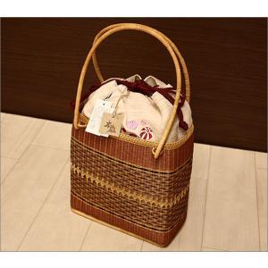 浴衣用の籠バッグ(麻素材)17-9.赤色の紙風船柄・巾着付き kimono-waku