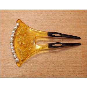 かんざし(簪) バチ型・17-1.べっこう風の花柄・パール調の飾り付き kimono-waku