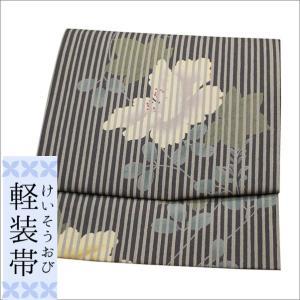 軽装帯 作り帯 ワンタッチ ポリエステル 青紫系色の縞地に華柄 kimono-waku