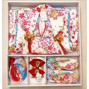 3歳 ひなまつり 桃の節句 七五三 着物 被布セット 被布7点セット 水色地に雪輪と華柄|kimono-waku