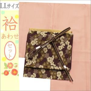 洗える着物セット 帯と着物セット LLサイズ レディース 小紋 4点 京袋帯 袷 赤香色の色無地の着物と紫系地に花柄の帯 kimono-waku
