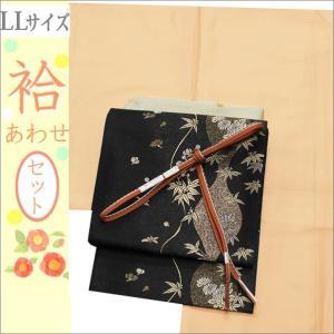 洗える着物セット 帯と着物セット LLサイズ レディース 小紋 4点 京袋帯 袷 飴色の色無地の着物と黒地に花柄の帯 kimono-waku