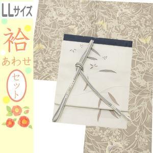 洗える着物セット 帯と着物セット LLサイズ レディース 小紋 4点 名古屋帯 袷 淡いグレー地に華と蝶々柄の着物と白地葉の帯 kimono-waku