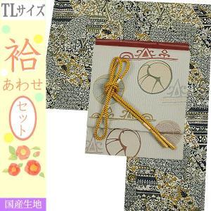 洗える着物セット 帯と着物セット TLサイズ レディース 小紋 4点セット 名古屋帯 袷 黒青緑系地に更紗柄の着物と淡いグレー地に幾何学柄の帯|kimono-waku