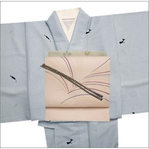 洗える単衣着物セット 夏帯コーデ 6・9月にお薦めセット Mサイズ 青色地に水玉にネコ柄の着物と薄桜地に幾何学柄の帯|kimono-waku
