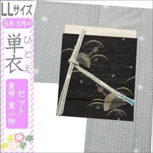 洗える着物セット 単衣着物セット 夏帯セット BLサイズ LLサイズ ブルーグレー系の蛍ぼかし地に幾何学柄の着物と黒地にかんざし柄の軽装帯|kimono-waku