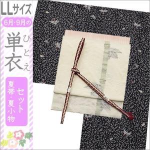 洗える着物セット 単衣着物セット 夏帯セット 洗える着物 単衣 セット BLサイズ LLサイズ 黒紺地系に葉柄の着物と白地に笹柄の帯|kimono-waku