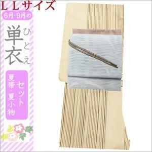 6月・9月の単衣着物セット BLサイズ クリーム地に縞柄と水色地に草柄の帯|kimono-waku