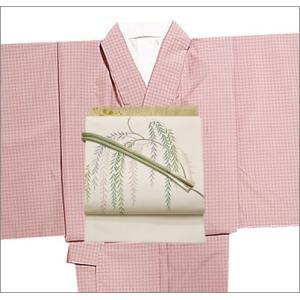 洗える単衣着物セット 洗える着物 Lサイズ 紬風着物  ピンク地の格子柄の着物と白地に葉柄の帯 kimono-waku
