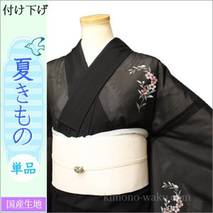 洗える夏着物(絽・付け下げ訪問着) Lフリーサイズ 黒色地に花柄|kimono-waku