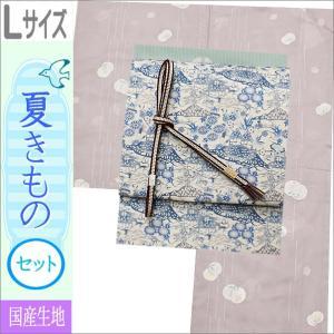 夏着物セット 洗える 絽 紗 Lサイズ 赤藤系地に花柄の着物とブルー系ベージュ地に藍型調の草花柄の帯|kimono-waku