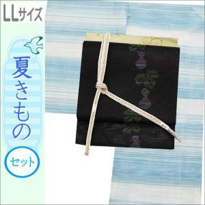 夏着物セット 洗える 絽 紗 LLサイズ お茶用 夏の着物セット 水色地に横段柄の着物と黒色地にひょうたん柄の帯|kimono-waku