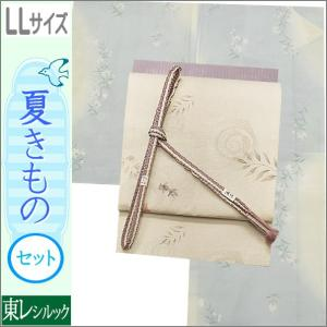 夏着物セット 洗える 絽 紗 LLサイズ 夏の着物セット 白藍色系のぼかし地に桔梗柄の着物と練色のぼかし地に金魚柄の帯|kimono-waku