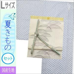 夏着物セット 洗える 絽 紗 Lサイズ 水色地にトンボ柄の着物と白地に幾何学柄の帯|kimono-waku