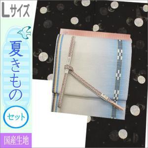 夏着物セット 洗える 絽 紗 Lサイズ 黒地に花柄の着物と雪の結晶柄の着物と水色のぼかし地のミンサー風の帯|kimono-waku