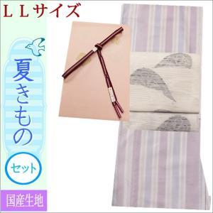 夏着物セット 洗える 絽 紗 お茶用 夏の着物セット LLサイズ 藤色系ぼかし縞柄の着物と白色地に源氏車柄の帯|kimono-waku