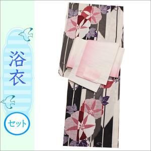 浴衣2点セット 17-15.白地に矢羽と朝顔柄の浴衣と白×ピンクのぼかし地の帯 フリーサイズ|kimono-waku