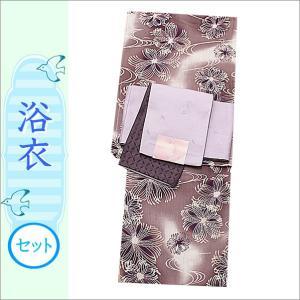 浴衣2点セット 17-26.赤紫系ぼかし地に花柄の浴衣と藤色地に丸に花とネコ柄の帯 フリーサイズ|kimono-waku