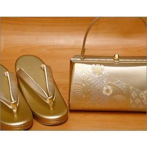 礼装用・草履バッグセットLLサイズ15-2.ゴールド系の草履&桜柄のバッグ  日本製  礼装用草履・バッグセット kimono-waku