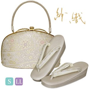 沙織 草履バッグセット  礼装用 S/LLサイズ シルバー系の草履&華柄のバッグ パールトーン 日本製|kimono-waku
