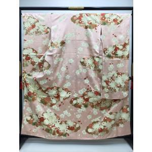 乱菊 梅 綸子地振袖 kimono-waraji