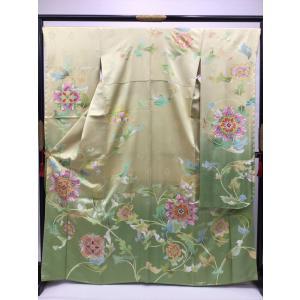 花唐草文様 綸子地振袖 kimono-waraji