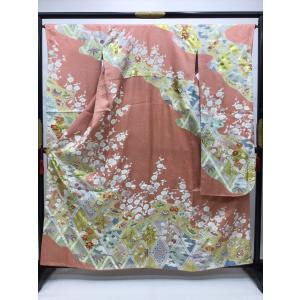 籠目に四季花 振袖 kimono-waraji