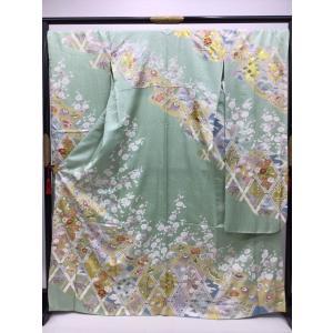 籠目に四季花 振袖 長襦袢付き kimono-waraji