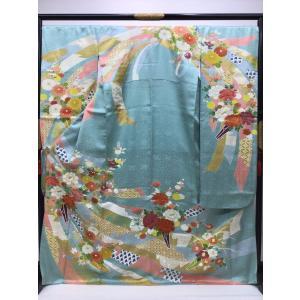 綸子地 束ね熨斗と四季花 振袖 kimono-waraji
