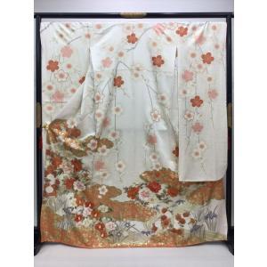 紗綾形に梅と牡丹やシャクヤク 振袖 kimono-waraji