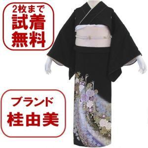 桂由美 バラ孔雀 黒留袖レンタル 057番 20点フルセットレンタル 往復送料無料 【kum】|kimono-world
