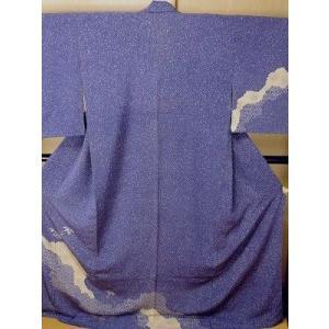 ho24 中古 正絹 訪問着 紫紺色 袷 広衿 幾何文様 身丈152cm
