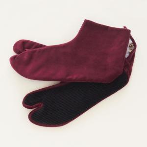 暖かい 足袋 冬 別珍足袋 女性 赤紫色 4枚こはぜ 21.5cm〜25.0cm 選べる8サイズ 日...