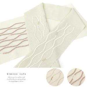 洗える ちりめん 刺繍半衿 玉立涌 刺繍 白 黒 kimonocafe-y