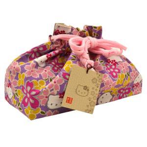 【キティ】【巾着】ハローキティ 桜 巾着 紫 綿 入学式 お祝い 和柄 お弁当入れ 【メール便可】【あすつく】|kimonocafe-y
