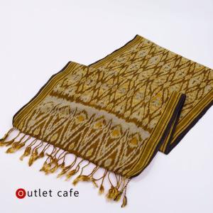 【ou】アウトレット サンプル品 イカット 絣織物 (黄土色系幾何学) テーブルランナーやタペストリーに kimonocafe-y