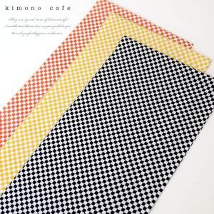 日本製 正絹 洒落 半衿 市松 黒 黄色 エンジ kimonocafe-y
