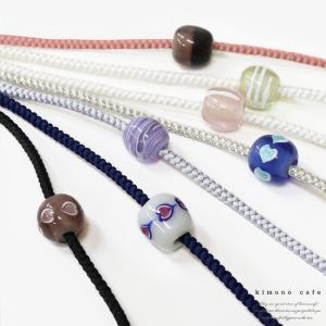 透明感のあるトンボ玉付き飾り紐 メール便可  素材 紐:絹100%、紐:絹100%、(シルバーのみ)...