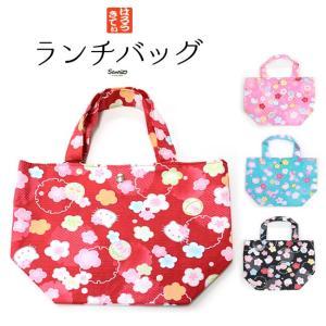 ハローキティランチバッグミニトートバッグ和柄 赤 ピンク 黒 水 メール便可 あすつく|kimonocafe-y