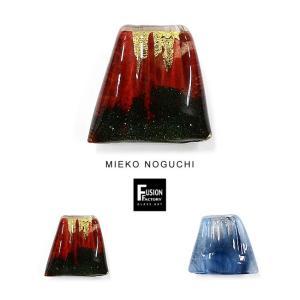 FUSION FACTORYノグチミエコ吹きガラスの富士山帯留め 赤 青 メール便不可 あすつく|kimonocafe-y