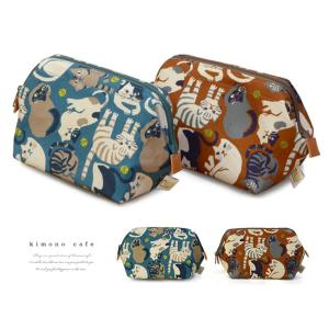 帆布 ワイヤーポーチ 猫 柄画ワークス×un deux 全2種 ブルー ブラウン|kimonocafe-y
