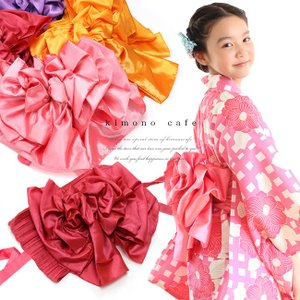 女の子 プリーツ兵児帯(作り帯) 簡単に結べる 帯結び 付け帯 浴衣帯 ふわふわ帯 リボン|kimonocafe-y