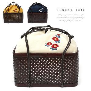 浴衣カゴバッグ 椿刺繍の麻生地バッグ|kimonocafe-y