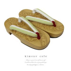 レディース 浴衣下駄レーザー彫りさくら文様 黄緑 ナチュラルレーザー彫り台|kimonocafe-y