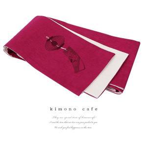 レディース 浴衣帯風鈴刺繍 エンジ 麻生地|kimonocafe-y